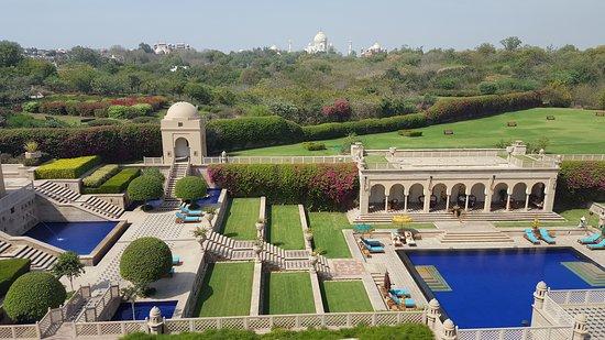 Pool area overlooking the Taj