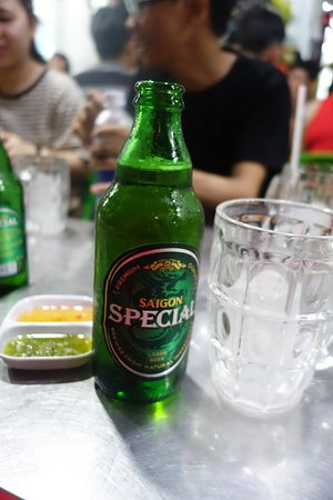 Saigon Adventure: beer with our last meal