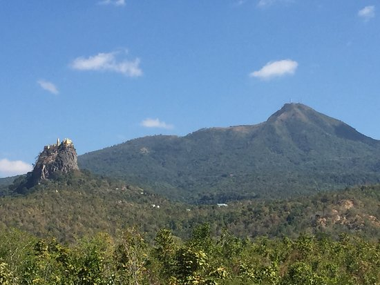 Volcano Mount Popa (left) and volcanic neck called Mount Popa (right)