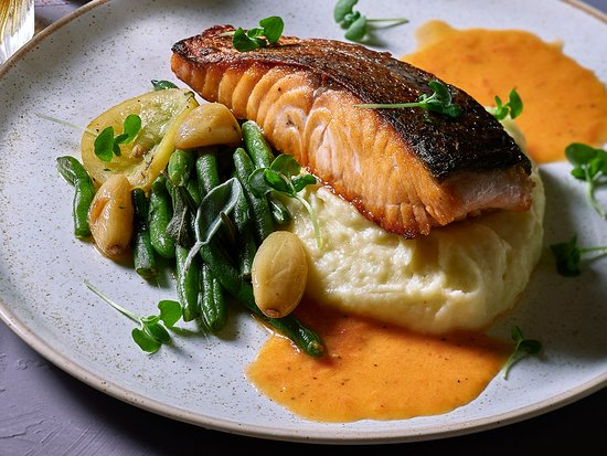 Salmon Fillet baked, with a lemon sage butter sauce, green beans and goat cheese mashed potatoes
