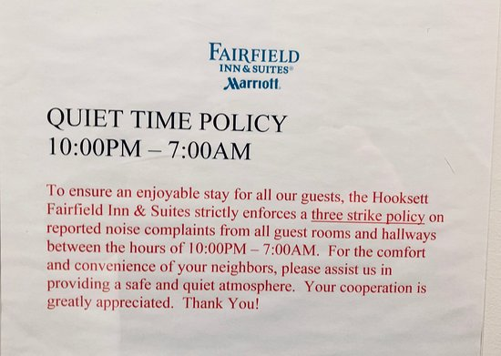 I appreciate a hotel that tries to keep the noise down  Three