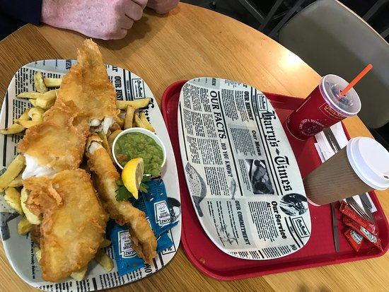 Fish and chips at Harry Ramsden's, at the welcome break at Warwick on the  M 40
