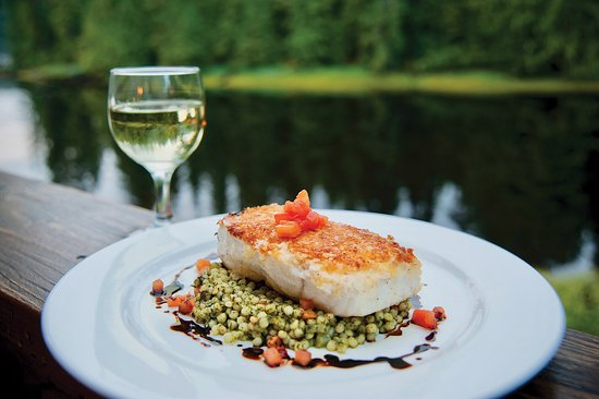 Halibut fillet paired with a white wine