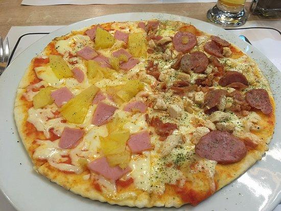 Don Marcelo: Pizza mitad Hawaiana/Especial Alemana