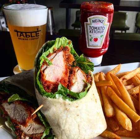 Chicken Caesar Wrap with craft beer from The Table Brewing!