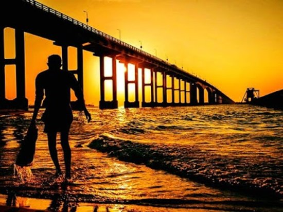 #Pamban  Pamban Bridge is a railway bridge which connects the town of Rameswaram on Pamban Island to mainland India. Opened on 24 February 1914, it was India's first sea bridge