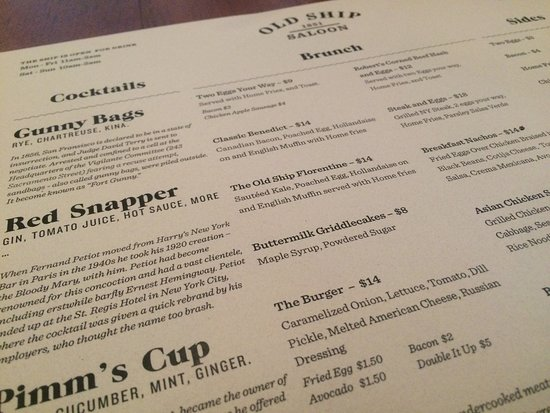 Partial look at the brunch menu. Small  list of offerings, but enticing.
