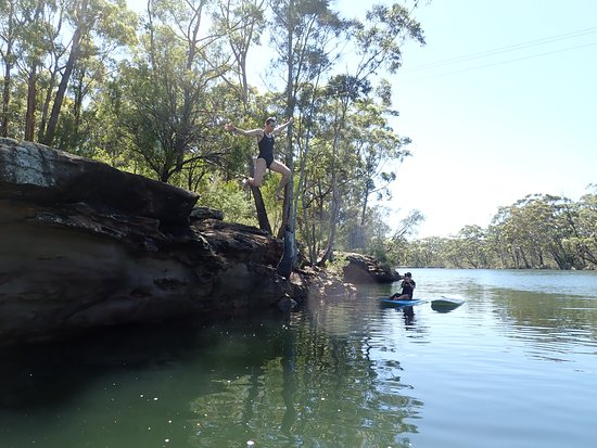 Sussex Inlet, Australia: Exploring up river - time to jump off the rocks.