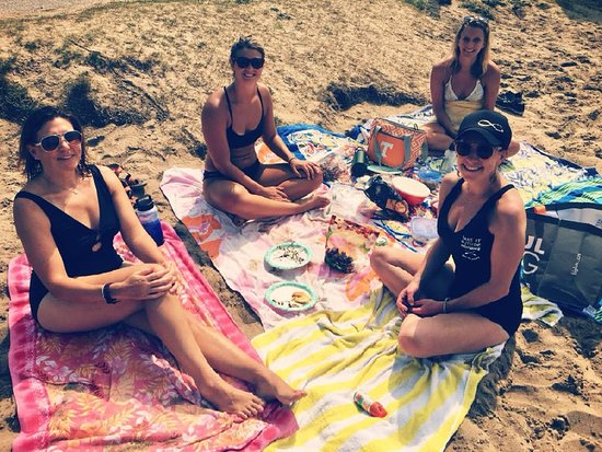 Alden, MI: Michigan Wine & Yoga Weekend: During our paddle day on Torch Lake and Clam Lake, we stop for a delicious and healthy homemade lunch on the beach on Torch Lake.
