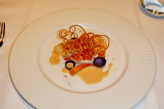 Butter-poached Lobster Tail, purple potatoes & carrots, Lobster-basil sauce