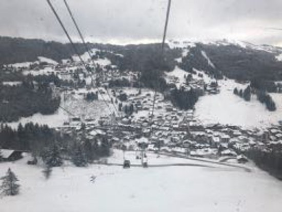 View of Les Gets from Mont Chery telecabine