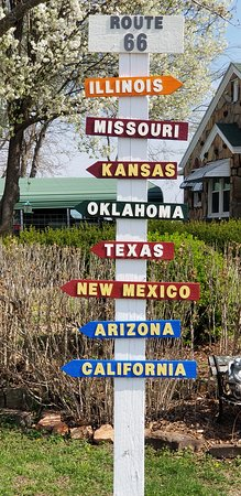 Ash Grove, MO: ..and at Gary's, sign for directions to all 8 states on Route 66