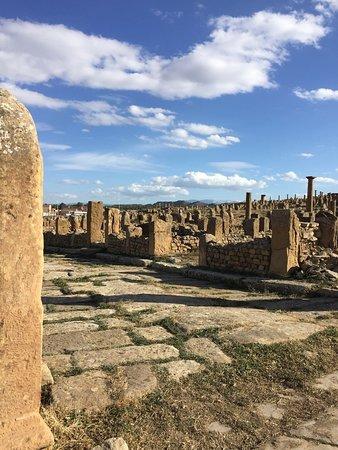 Timgad un site archéologique unique en son genre, sur les hauteurs de la ville de Batna en Algérie. L'accès est à 100 da l'équivalent de 5€ , prévoyez juste un petit sandwich et surtout de l'eau . Le site est très très beau vous ne regretterais pas