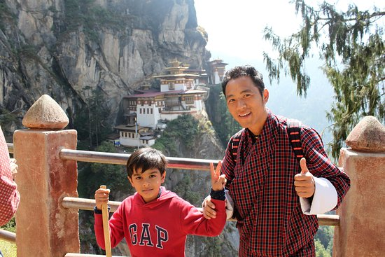 Paro, Bhutan: My son Ishitva with Guide Karma