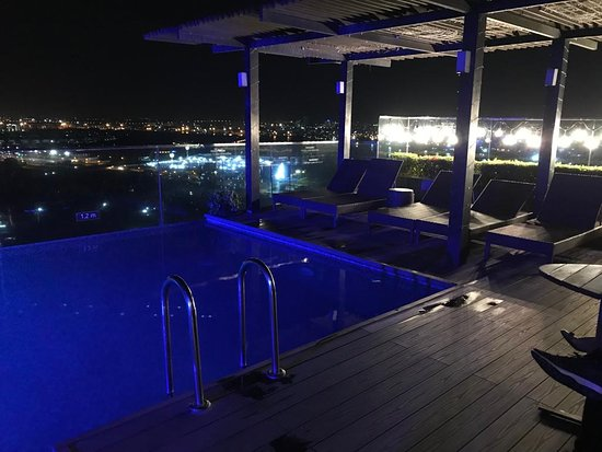 Top Roof Swimming Pool At Night