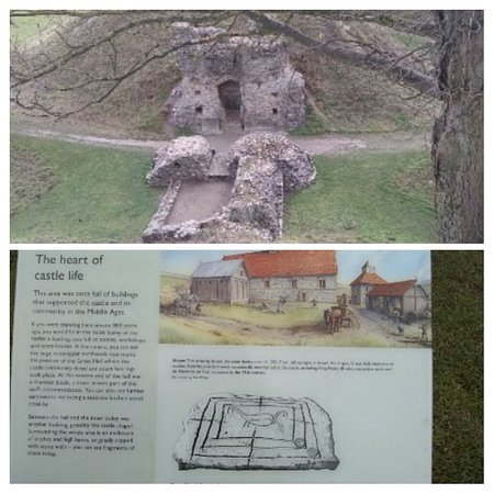 Castle Acre, UK: Clear information signage and picture of the outer part of the castle