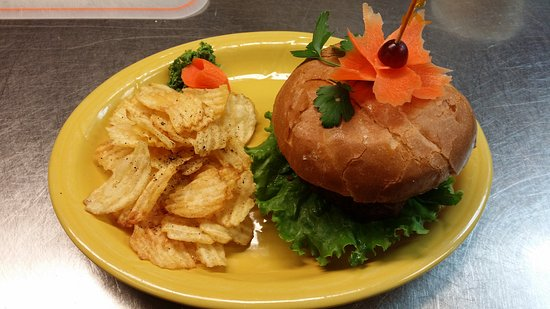 Stayton, OR: Enjoy our Vegetarian Stuffed Portobello  Mushroom Roasted and stuffed with goat & asiago cheese, fresh basil,sun-dried tomato, garlic and herbs on a brioche bun or a bed of greens