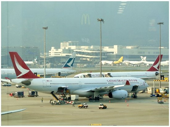 Hong Kong Intl Airport: A view of Hong Kong International Airport from the terminal area.