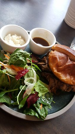 Bench Brewing Company: Beef Dip Sandwich with Horseradish Cream and salad.