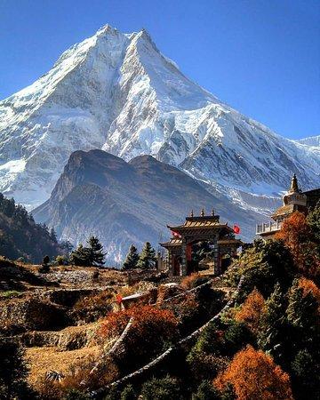 Gorkha, Nepal: Majestic manaslu 8163 m. 8th highest mountain in the world. Manaslu circuit trek. Trekking Nepal Himalaya  Pic Credit:- sundar thapa - @mountain.gram/