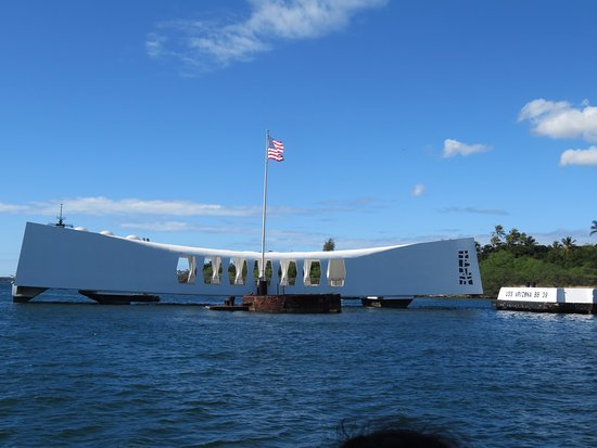 View of the Arizona Memorial from the tour boat.