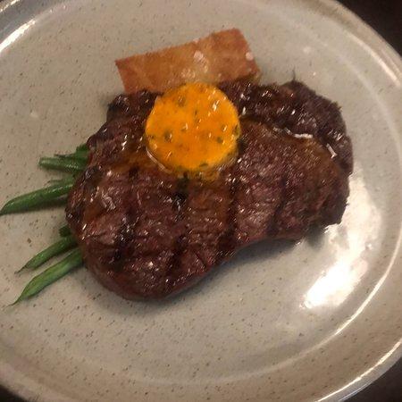 Rib eye steak and pomme anna