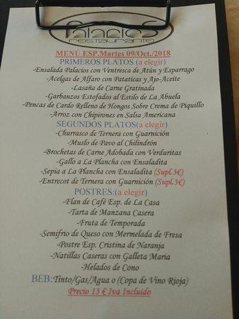 Alfaro, Spania: Comida de primera a precio de menu.