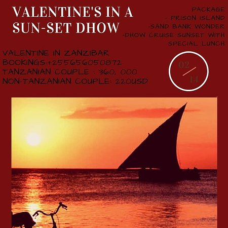 Zanzíbar, Tanzania: Its a valentine special which will take part in a special local dhow inside the indian ocean.