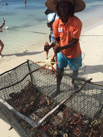 Choose Lobster or Crab for the grill in Negril