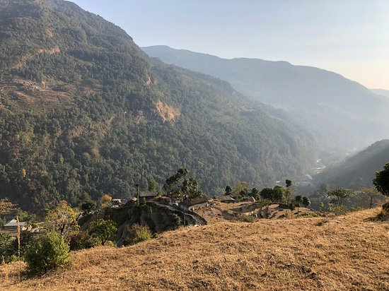 View of trail near the village of Kliu on the way to Ghandruk