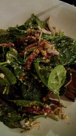 Crispy Char-grilled Pumpkin salad (with spinach leaves).