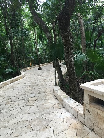 Walkway from rooms to pool and beach area