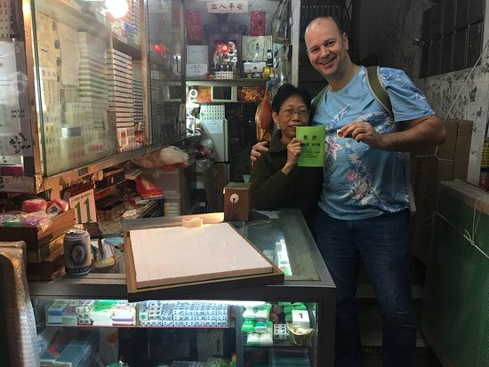 Hong Kong Street Food Tour in Authentic Whampoa: One of the last female mah jong tile carvers in HK.