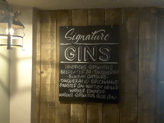 Fishermans Cot Tiverton: Gin info on offer