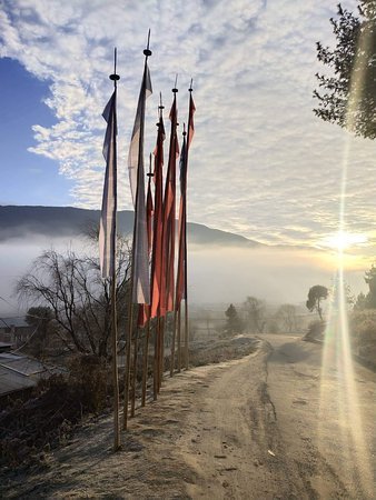 Thimphu District, Bhutan: Pray Flags in mist
