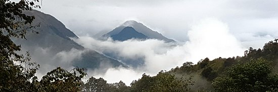 Bumthang District, Bhutan: Misty Mountain on drive to Bumthang, Central Bhutan