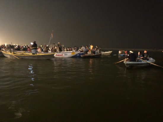 Kashi Journeys: Tour boats watching the daily evening aarti prayers.