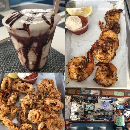 Bushwacker (liquid dessert!); blackened shrimp; calamari; cozy bar