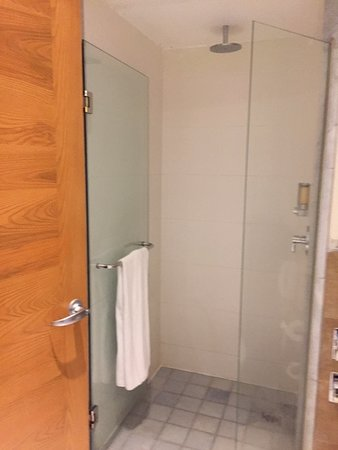 Corner shower, with rainfall head.  No place to situate your personal items, had to balance some things on top of soap dispenser.