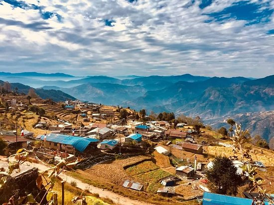 Helambu, Nepal: Mesmerizing View of  sermathang village where our Yangrima eco lodge is located.