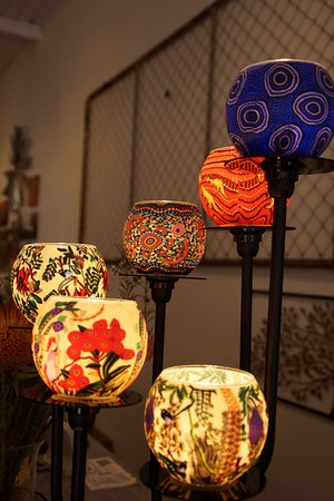 Some beautiful light's decorated with Australian Flora and Aboriginal Art