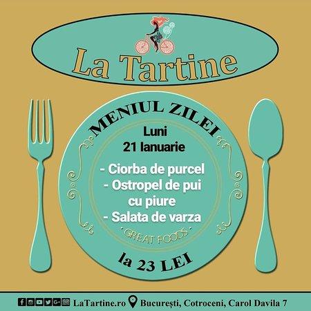 😀 Începem o nouă săptămână și de la ora 12:00 va așteptăm #LaTartine #Cotroceni cu #MeniulZilei (#Luni, 21 #Ianuarie) la 23 lei: - Ciorba de purcel - Ostropel de pui cu piure - Salata de varza * în limita stocului disponibil  #LaTartineCotroceni #București