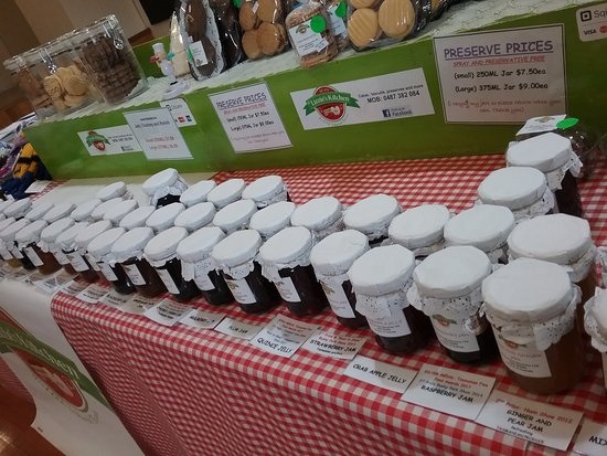 A large selection of award winning jam chutney and relish homemade cakes and biscuits.