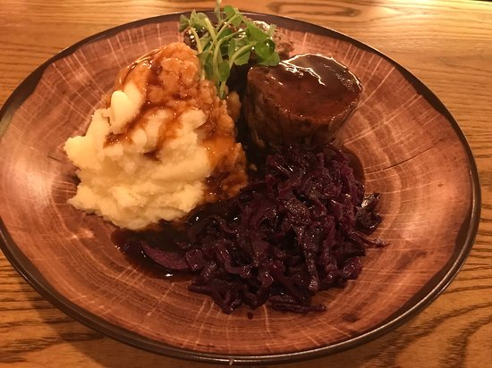 Sauerbraten - Featherblade of Beef with buttery mash, braised red cabbage, and beer gravy
