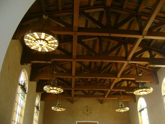 Beautiful chandeliers suspended from trestle roof - Union Station