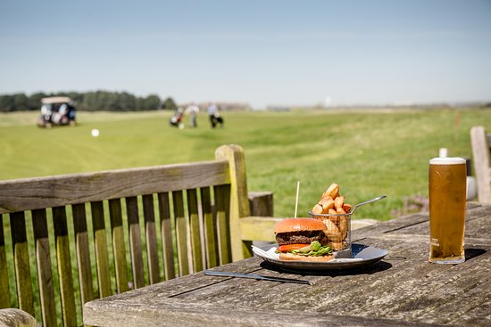Princes Golf Club: A Prince's Burger on the terrace after golf