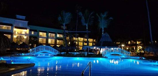 Beautiful main pool at night.