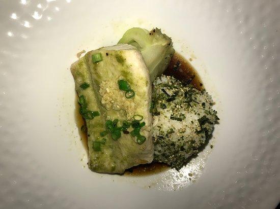 Jade Pesto Steamed Whitefish at Roy's Restaurant in San Diego.