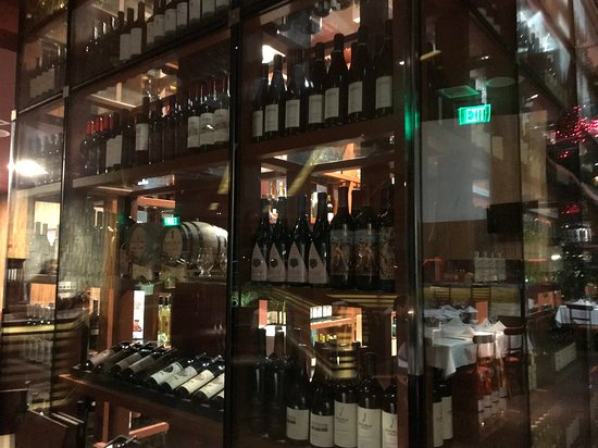 Wine tower inside Roy's Restaurant in San Diego.