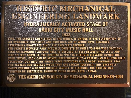 Did you know that the stage at Radio City Music Hall is an Historic Mechanical Engineering Landmark for its innovative use of hydraulics? Yep. And it was considered Top Secret during WWII.